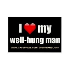"""Love My Well-Hung Man"" Rectangle Magnet"