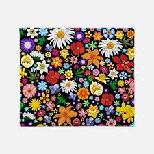 Spring Flowers Pattern Throw Blanket