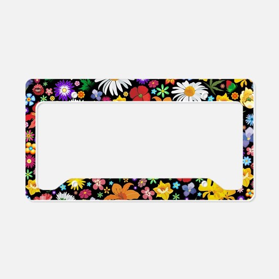 Spring Flowers Pattern License Plate Holder