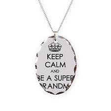 Keep Calm Super Grandma Necklace Oval Charm
