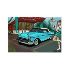 57 Chevy with Car Hop Girl Rectangle Magnet