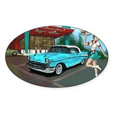 57 Chevy with Car Hop Girl Decal