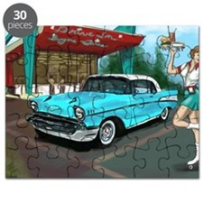 57 Chevy with Car Hop Girl Puzzle