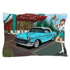 57 Chevy with Car Hop Girl Pillow Case