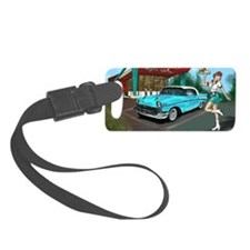 57 Chevy with Car Hop Girl Luggage Tag