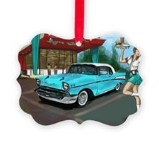57 Chevy with Car Hop Girl Ornament