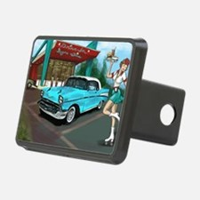 57 Chevy with Car Hop Girl Hitch Cover
