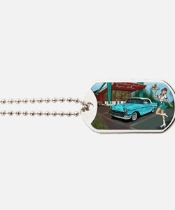 57 Chevy with Car Hop Girl Dog Tags