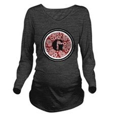 Red Paisley Monogram Long Sleeve Maternity T-Shirt