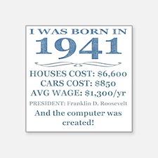 "Birthday Facts-1941 Square Sticker 3"" x 3"""