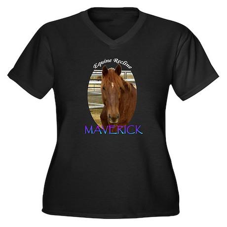 Maverick Women's Plus Size V-Neck Dark T-Shirt