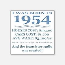 "Birthday Facts-1954 Square Sticker 3"" x 3"""
