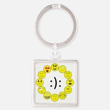 Emoticons Square Keychain