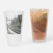 railroad track digital Drinking Glass