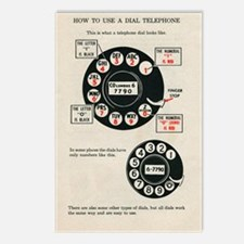 FIN-rotary-phone-instruct Postcards (Package of 8)