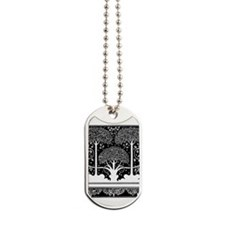 Art Nouveau Vintage Tree Pattern Dog Tags