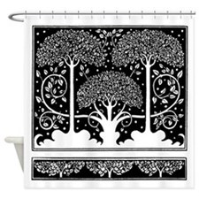 Art Nouveau Vintage Tree Pattern Shower Curtain