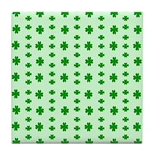 Lucky Clovers Pattern Tile Coaster