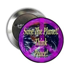 Save the Planet Think Peace Button