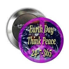 Earth Day Think Peace Button