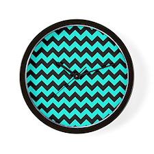 Aqua and Black Chevron Pattern Wall Clock