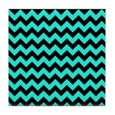 Aqua and Black Chevron Pattern Tile Coaster