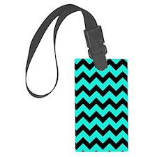 Aqua and Black Chevron Pattern Luggage Tag