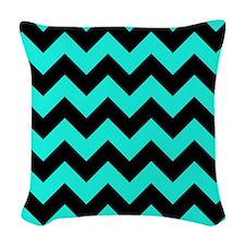 Aqua and Black Chevron Pattern Woven Throw Pillow