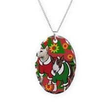 Bull Terrier Christmas Necklace Oval Charm