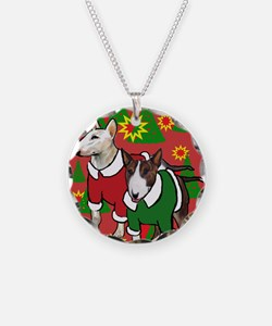 Bull Terrier Christmas Necklace Circle Charm