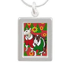 Bull Terrier Christmas Silver Portrait Necklace