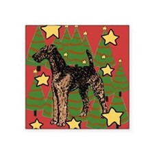"""Christmas_Airedale Square Sticker 3"""" x 3"""""""