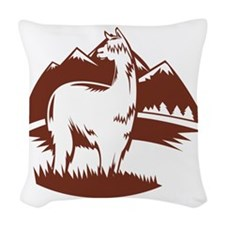 LamaPanoramaBR Woven Throw Pillow