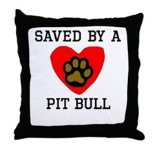 Saved By A Pit Bull Throw Pillow
