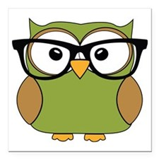"Funky Hipster Owl Square Car Magnet 3"" x 3"""