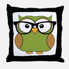 Funky Hipster Owl Throw Pillow
