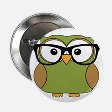 """Funky Hipster Owl 2.25"""" Button"""