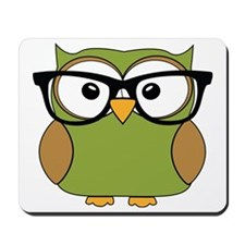 Funky Hipster Owl Mousepad