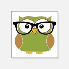 "Funky Hipster Owl Square Sticker 3"" x 3"""