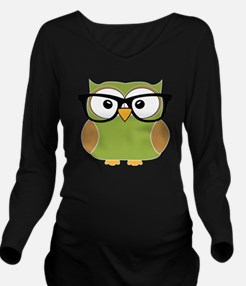 Funky Hipster Owl Long Sleeve Maternity T-Shirt