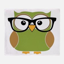 Funky Hipster Owl Throw Blanket