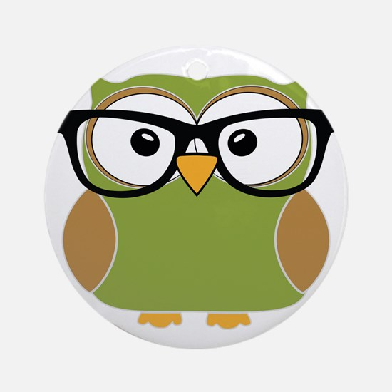 Funky Hipster Owl Round Ornament