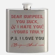 DEAR BURPEES II - WHITE Flask