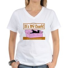 ITS MY COUCH WOMENS WHITE V NECK TEE