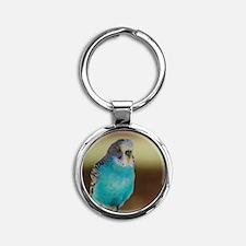 Blue Budgie Round Keychain
