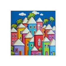 """Tropical Colorful Houses Sh Square Sticker 3"""" x 3"""""""