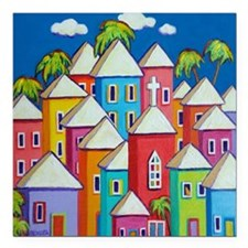 "Tropical Colorful Houses Square Car Magnet 3"" x 3"""