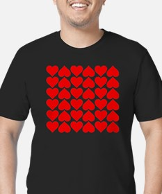 Red Heart of Love Men's Fitted T-Shirt (dark)