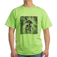 dirt bike blasting thru in BW T-Shirt