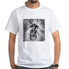 dirt bike blasting thru in BW Shirt